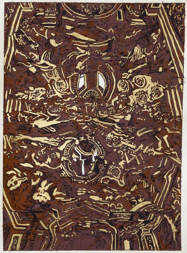 Carta inchistro,foglia d'oro 50x70cm.