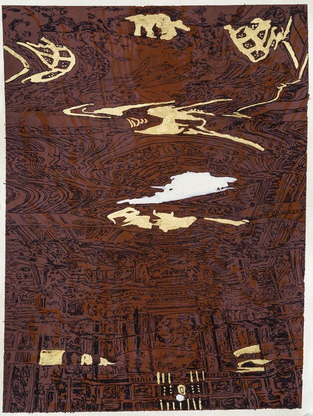 Carta inchistro,foglia d'oro 50x70cm